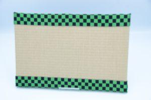 ミニ畳(中)和紙灰桜x市松柄縁黒/緑