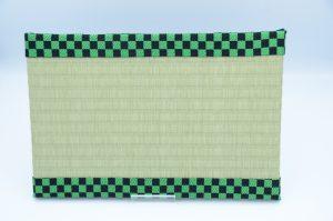 ミニ畳(中)樹脂表グリーンx市松柄縁黒/緑、